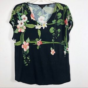Ted Baker London Floral Graphic V-Neck Tee